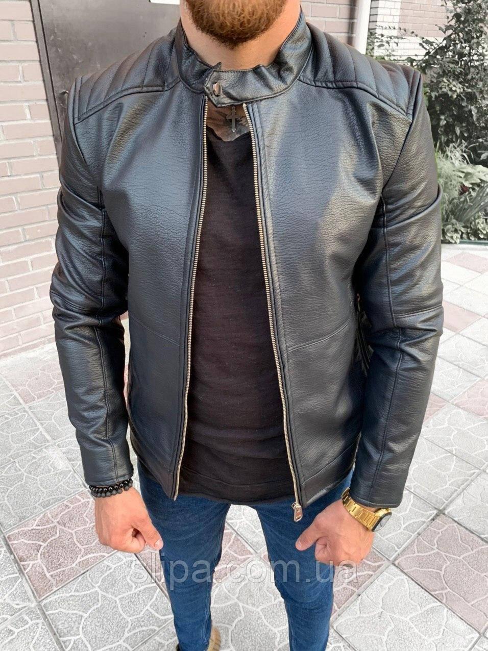 Чоловіча шкіряна куртка чорна на блискавку, комір на кнопці ( фліс )