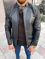 Чоловіча шкіряна куртка чорна на блискавку, комір на кнопці ( фліс ), фото 1