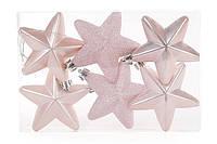 Новогодние елочные игрушки Звезды 7,5 см, набор 6 шт * 7,5 см