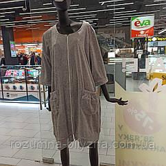 Халат жіночий велюровий сірого кольору. ТМ La Belle. 2XL. 3XL. 4XL