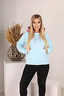 Женское теплое худи с двойным капюшоном батал, фото 1