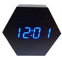 Часы сетевые настольные VST-876-5, синие, температура, USB