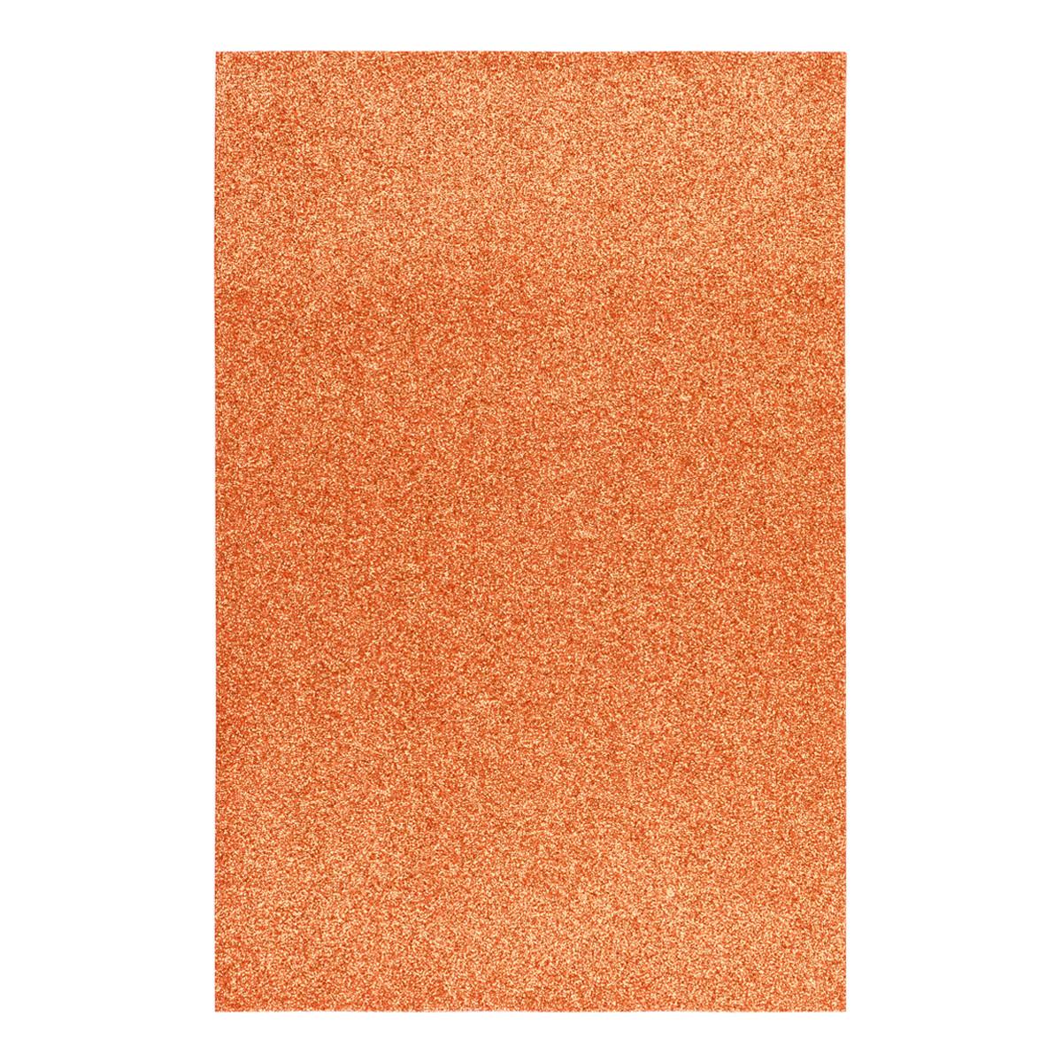 Фоаміран ЕВА помаранчевий з глітером, 200*300 мм, товщина 1,7 мм, 10 аркушів