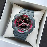 Детские спортивные наручные часы Casio baby-g ba-110 серые с розовым циферблатом - 0238, фото 1