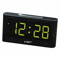 Часы сетевые настольные VST-732Y-4,зеленые, температура, USB