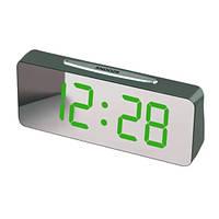 Часы сетевые настольные VST-763Y-4,зеленые, температура, USB