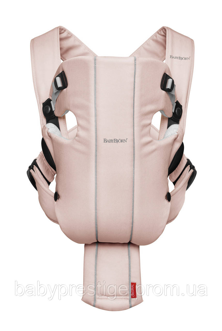 Эргономичный рюкзак кенгуру Babybjorn ORIGINAL Cotton-Jersey, бледно-розовый/серый.