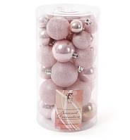 Набір ялинкових кульок рожевого кольору 40 шт мікс розмірів, фактур мікс