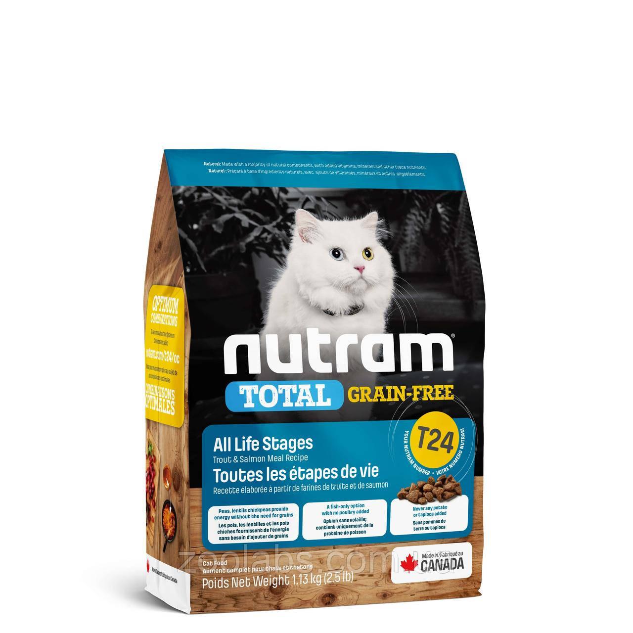 Корм Nutram для кошек   Nutram T24 Total Grain Free Salmon & Trout Cat Food 320 грамм