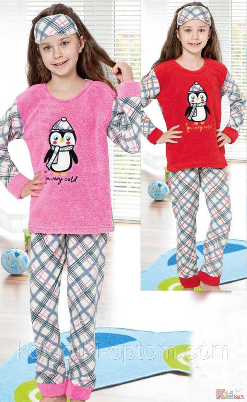"""ОПТОМ Пижама утепленная розовая с маской """"Пингвин"""" для девочки (170 см.)  Minimoon 2125000692364"""