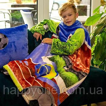 Дитячий плед з рукавами з мікрофібри Football