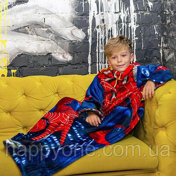 Детский плед с рукавами из микрофибры Spiderman