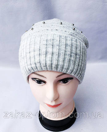 Шапка женская на флисе с отворотом Украина оптом  -63404, фото 2