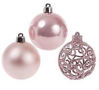 Набор елочных шаров розового цвета 6 шт-6 см, фото 1
