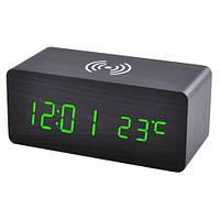 Часы сетевые настольные VST-889-4, зеленые, беспроводная зарядка, температура, USB