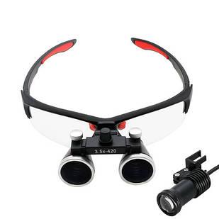 Бинокулярные увеличительные очки лупа 3.5x 420мм с подсветкой и АКБ 1800мАч