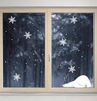 Новогодняя наклейка Белый мишка (медведь декор окон стен Новый год) матовая мишка 300х130 мм 6 снежинок