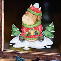 Новогодняя наклейка Милый Бычок (символ года новый год Быка декор окна новогодний 2021) матовая 380x400 мм