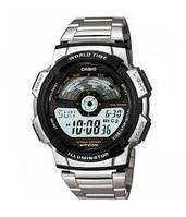 Стильные часы CASIO AE-1100WD, 10Bar, стальной браслет, 5 будильников