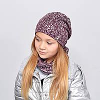 Комплект Nord Срібло (шапка+хомут) бордо