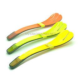 Ложка для салата два в одном (набор) желтый / Ложка для салату