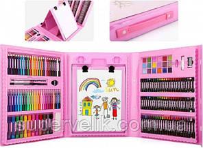 Набор для рисования детского творчества в чемодане из 208 предметов Розовый голубой кейс, Art Set 208