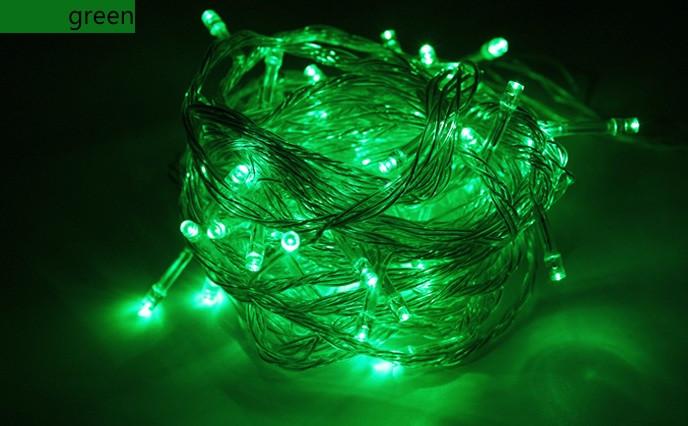 Новогодняя светодиодная гирлянда нить 10 метров зеленый