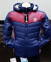 Мужская куртка Адидас синяя с красными вставками