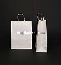 Бумажные пакеты крафтовые пакеты белый крафт с ручками 190х110х280, фото 3