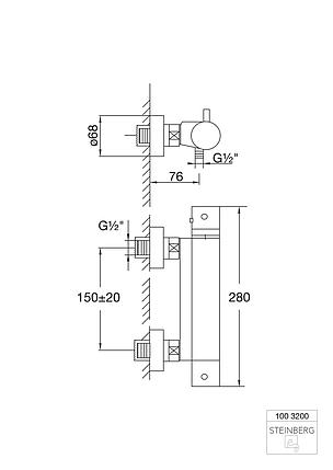 """100 3200 Steinberg Serie 100 Термостат для душа настенный 1/2"""" с регулировкой температуры, фото 2"""