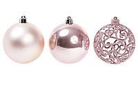 Набір ялинкових кульок рожевого кольору 3 шт-8 см, фото 1