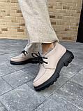 Женские ботинки кожаные зимние бежевые, фото 6