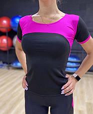 Костюм для фитнеса с перфорацией на лосинах черно-малиновый, фото 2
