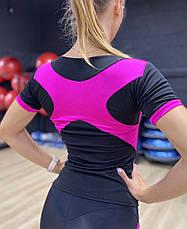 Костюм для фитнеса с перфорацией на лосинах черно-малиновый, фото 3