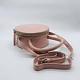 Женская классическая круглая сумочка на ремешке рептилия розовая, фото 7