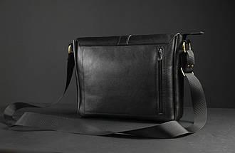 """Мужская сумка """"Модель №53"""" Кожа Итальянский краст цвет Черный, фото 3"""