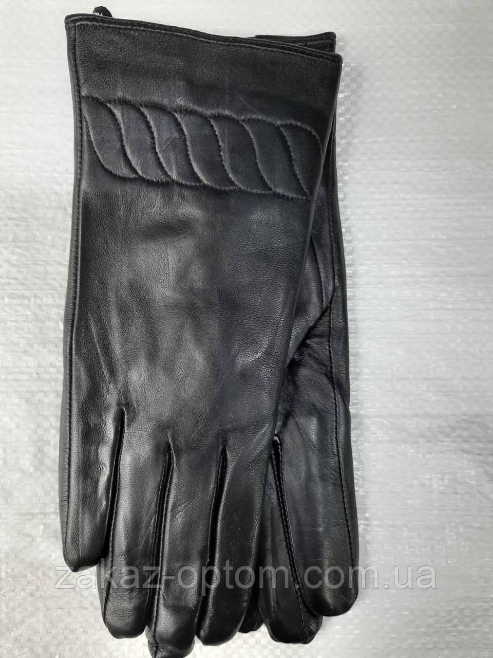 Перчатки женские кожа Лайкра оптом внутри плюш (6,5-8,5)Румыния 03 -63172