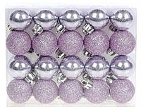 Лілові новорічні ялинкові кулі 20шт *3см, набір мікс, фото 1