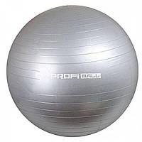 Надувной мяч для фитнеса 75см, фитбол Profiball MS 1541, серый