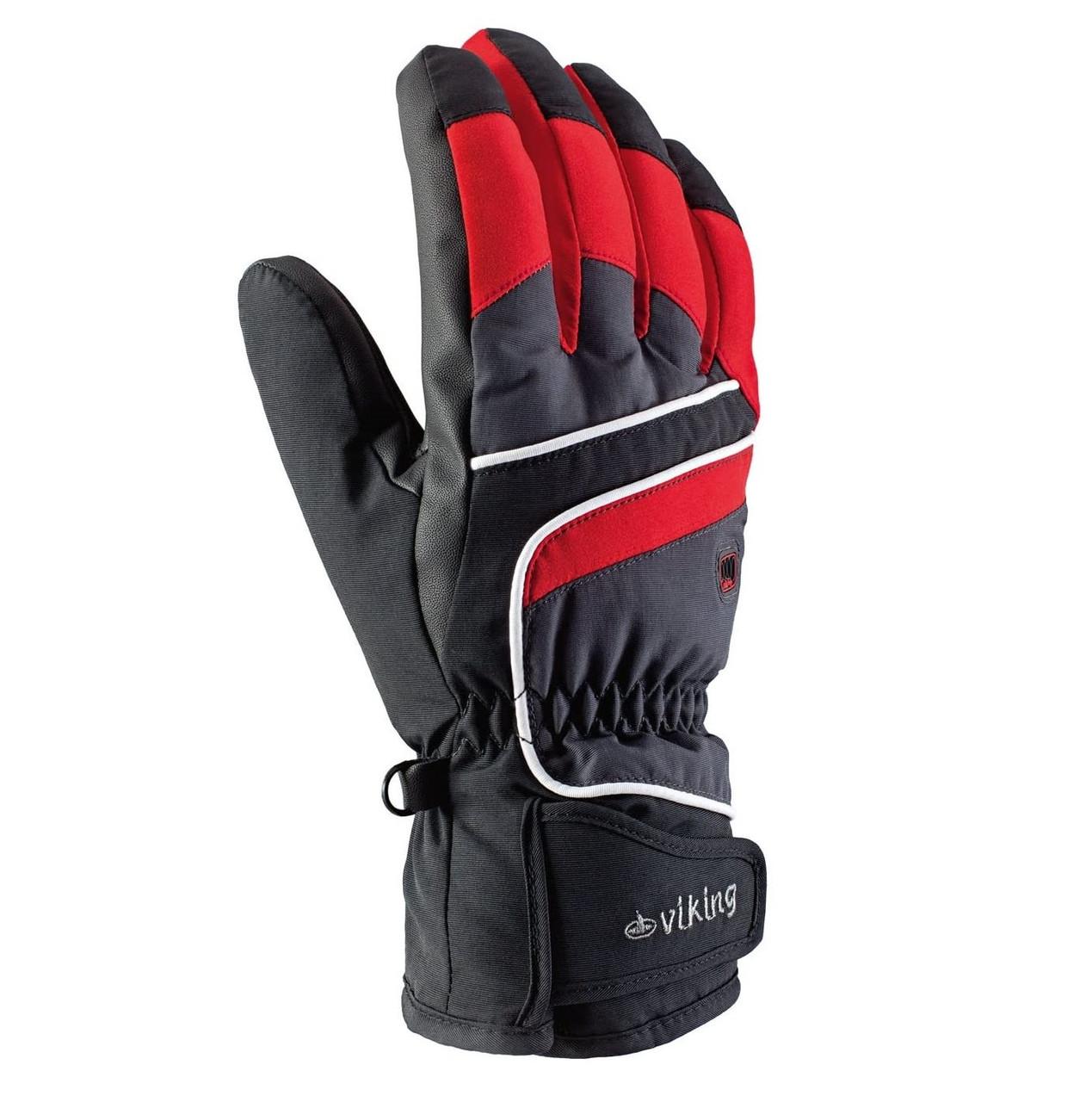 Рукавиці гірськолижні Viking Biset 9 L Чорний-Червоний 34