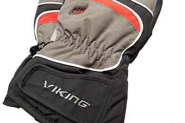 Рукавиці гірськолижні Viking Biset 9 L Чорний-Червоний 34, фото 3