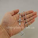 Комплект! Мужская серебряная цепь якорь и крестик с жестким ушком из серебра 925. Цепочка и кулон, фото 3