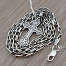 Комплект! Мужская серебряная цепь якорь и крестик с жестким ушком из серебра 925. Цепочка и кулон, фото 6