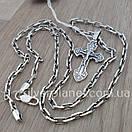 Комплект! Мужская серебряная цепь якорь и крестик с жестким ушком из серебра 925. Цепочка и кулон, фото 8