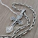 Комплект! Мужская серебряная цепь якорь и крестик с жестким ушком из серебра 925. Цепочка и кулон, фото 7