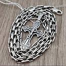 Комплект! Мужская серебряная цепь якорь и крестик с жестким ушком из серебра 925. Цепочка и кулон, фото 9