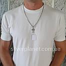Комплект! Мужская серебряная цепь якорь и крестик с жестким ушком из серебра 925. Цепочка и кулон, фото 4