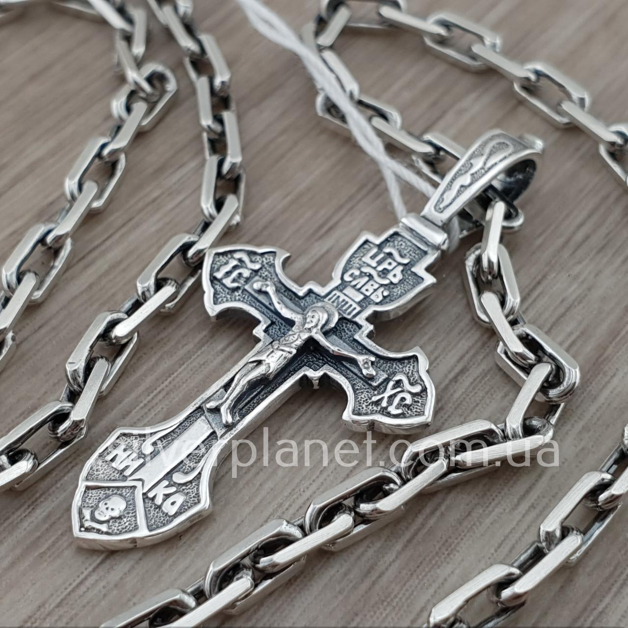 Комплект! Мужская серебряная цепь якорь и крестик с жестким ушком из серебра 925. Цепочка и кулон
