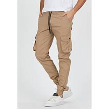 Джоггеры мужские бежевые хлопковые стильные брюки подростковые с карманами на бедре