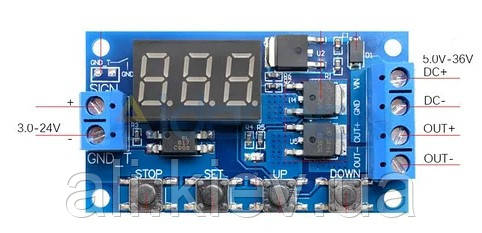 Електронний програмний таймер часу,  на КМОП  5-30В 15A, не для АС 220В!